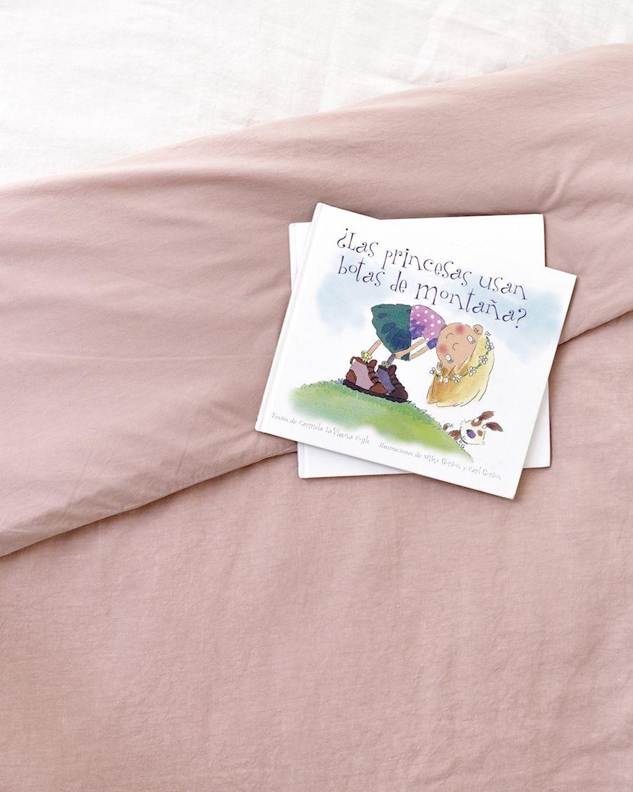 Lino capa de edredão rosa
