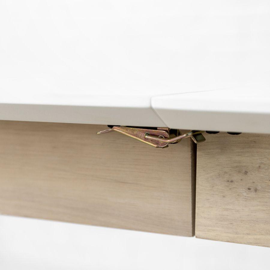 Mesa extensível Brent branca e natural 140 cm