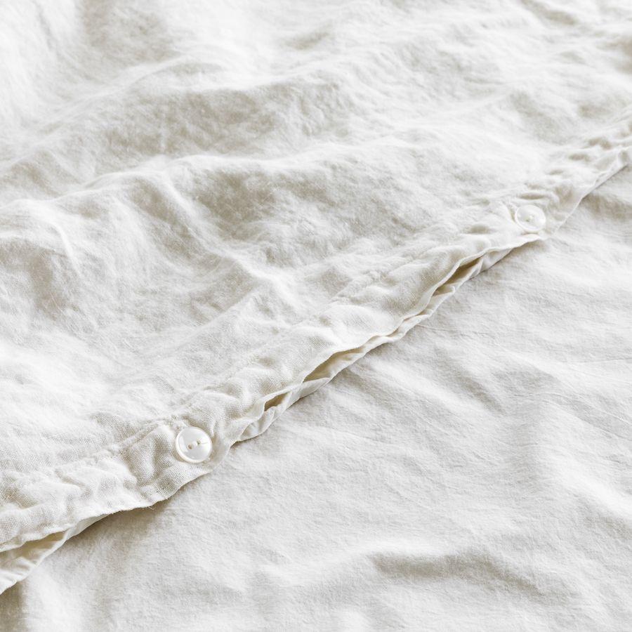 Lino funda nórdica blanco piedra mediano