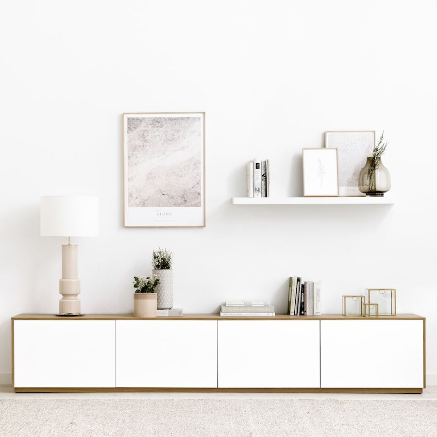 Unite mueble de TV 240 cm blanco y roble