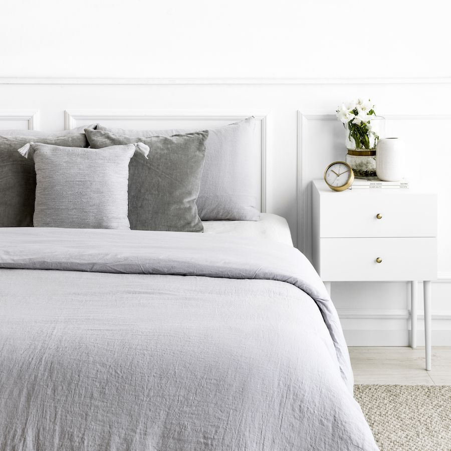 Lino copripiumino grigio chiaro