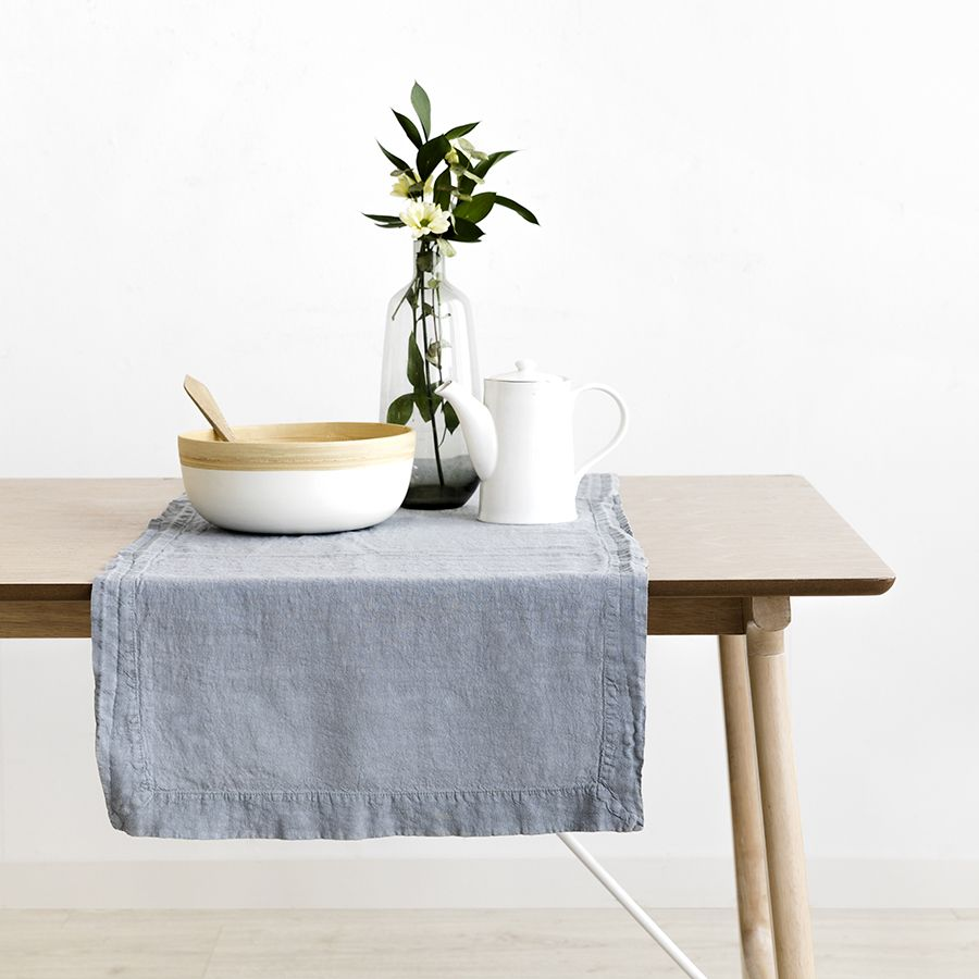 Lino runner da tavola grigio
